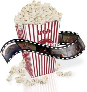 box of popcorn and film with movie frames