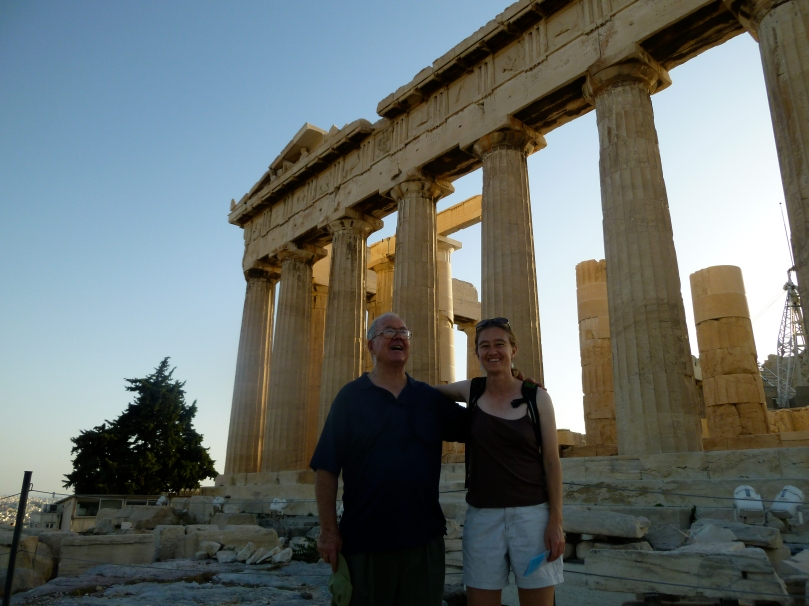 Rachel and her dad in front of the Parthenon